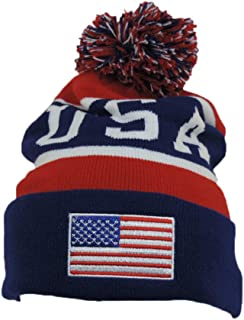 USA Red White & Blue Knitted Stocking Cap w/ Pom Pom