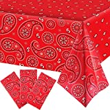 3 Pieces Western Party Tablecloth Paisley Table Cover Bandana Plastic Table Cloth Rectangle Floral Tablecloth for Western Cowboy Themed Party Decorations, 108 X 54 Inches (Blue) (Red)