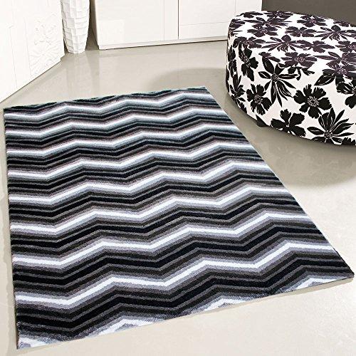 mynes Home Teppich Kurzflor Modern Designer Schwarz Weiss Zick Zack Design Wohnzimmer Jugendzimmer Skandi (160 x 230 cm)