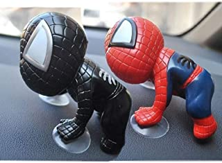 Womnord Car Suction Cup Super Hero Spider Man Toys Window Mirror Vehicle Car Decoration Black and Red 2PCS