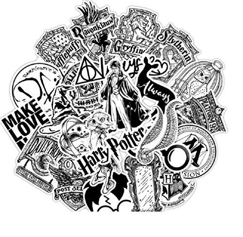 ⭐Top Aufkleber! ⭐ Set von 31 Harry Potter Black and White Aufkleber Top Qualität - Vinyls Stickers Nicht Vulgär – Fashion, Bombe, Graffiti - Anpassung Laptop, Gepäck, Moto, Fahrrad, Skate