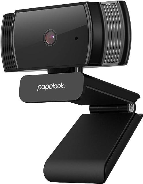 Webcam 1080P PAPALOOK AF925 con Enfoque Automático y Micrófono de Reducción de RuidoDiseño Plegable Giratorio de 360 Grados Cámara de la Computadora Portátil USB - Negro