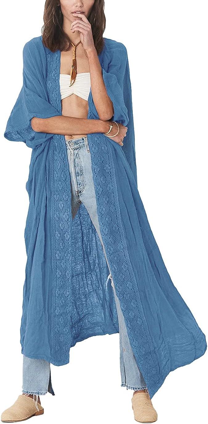 Eddoyee Open Front Half Sleeve Beach Cover Ups for Women Embroidery Kimono Cardigan Solid Loungewear