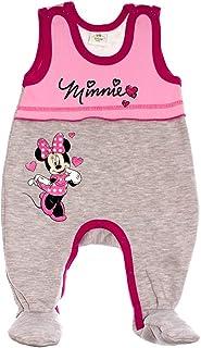 Disney Minnie Mouse Baby bequemer Mädchen Strampler ärmellos Spiel-Anzug Overall Outfit WARM mit Füssen Gr 62 68 74 Baumwoll in Rosa oder Grau ideal für Winter mit Fuss