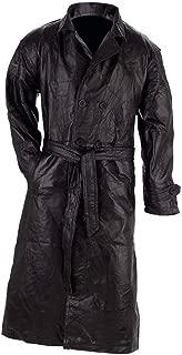 Giovanni Navarre Italian Stone Design Genuine Leather Trench Coat- Xl