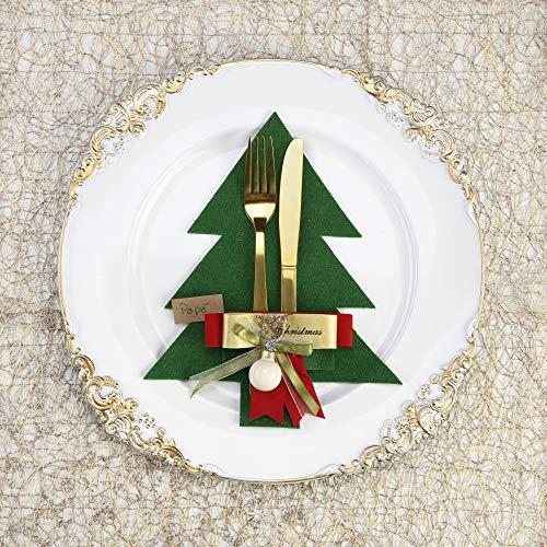 SWEET HUGS Porta Posate Natale di Feltro, Set 4 Pezzi, Albero di Natale, Decorazione tavola Cena Natale Accessori Eleganti tovaglia Natalizia, segnaposto Idea Regalo