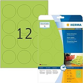 HERMA Etichette per Marcatura, Ø 60 mm, Etichette Adesive A4 per Stampante, 12 Etichette per Foglio, Verde Neon