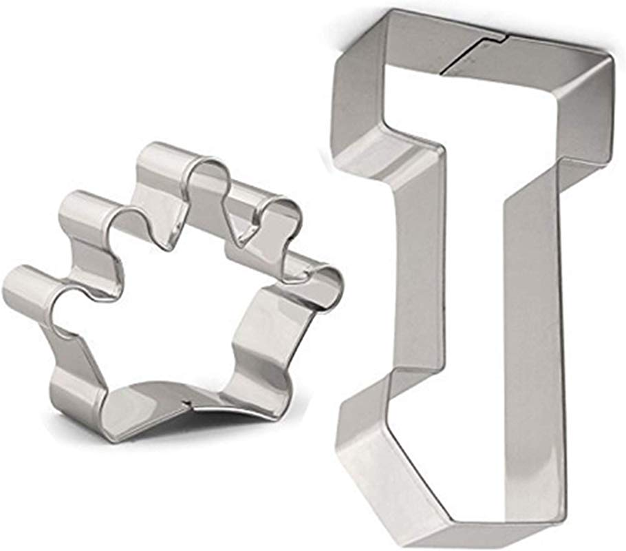 Large Number One And Crown Cookie Cutter Set 2 PCS Stainless Steel