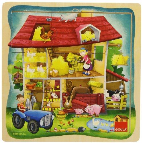 Diset Goula - Puzzle Granja, 9 Piezas de Madera 53097