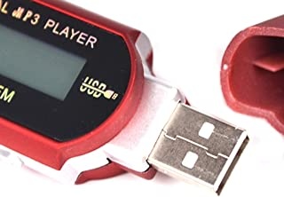 Perfk 8GB USB MP3 Music Video Digital Player Recording with FM Radio EBook Red