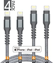 AHGEIIY iPhone Charger Cable,MFi Certified Lightning Cable- 4Pack [2x3FT 2x6FT] Nylon Braided Fast Charging Cable Compatible iPhone X, 8,7,6,6s Plus, 8, 7, 6, 6s, iPad,iPod and More - Grey
