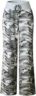 Sabarry Women's Wide Leg Casual Floral Loose Drawstring High Waist Workout Baggy Pajama Lounge Pants (Camouflage), 10-12