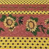 Tela por metros de sábana estampada - Algodón y poliéster - Retal de 300 cm largo x 270 cm ancho   Provenzal. Girasoles y olivas - Marrón - 3 metro