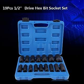 VEPEN 16Pcs 1/2 Inch Drive Air Hex Bit Socket Set, Repair Tool Kit 10MM-32MM Metric and Standard
