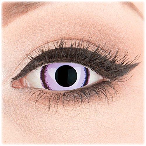 Farbige glamlens Purple Lunatic Crazy Fun MiniSclera 17mm Kontaktlinsen perfekt zu Fasching, Karneval und Halloween, Anime, Manga mit gratis Behälter Topqualität zu Gothik Manga Cosplay Events