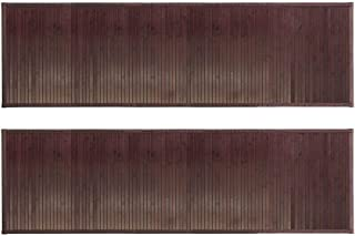 mDesign Long Bamboo Rectangular Spa Bath Mat/Runner Rug with Fabric Trim - Water Resistant - for Bathroom Vanity, Bathtub/Shower, Entryway - Environmentally Friendly, 60