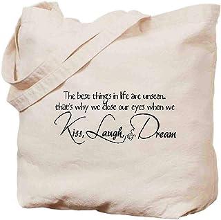 ショルダーバッグ ボッ - キャンバスバッグ - 心に強く訴える英語の文章-The Best Things in Life are Unseen.Thats why we Close Our Eyes When we kiss, Laugh, and Dream - 39cmx36cm