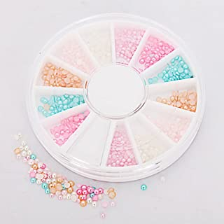 Manicure - SODIAL (R) 6 Colors Nail Art Pearl Crown Rhinestone Tips Manicure 3D Decoration Wheel