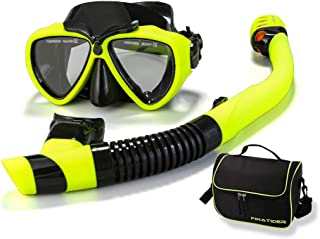 FinaTider Snorkel Mask Set - 2019 New Diving Mask Panoramic Wide View Watertight and Anti-Fog Lens Mask Dry Top Collapsible Snorkel Professional Snorkeling Set Adult Youth