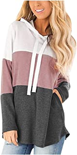 Jocome Ugly Christmas Women Sweatshirt Casual Color Splicing Solid Full Sleeve Pullover Hooded Loose Street Top