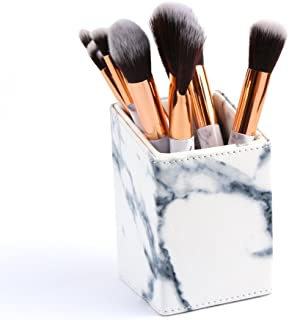 Tenmon PU Material Marble Design Makeup Brush Holder for Concealer Brush Eye Shadow Brush Angled Liner Brush Eyeliner Brush Blending Brush