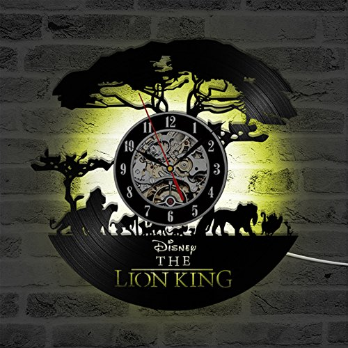 YUN Clock@ Lion King Wanduhr Aus Vinyl Schallplattenuhr Upcycling LED Dekoration 3D Design-Uhr Wohnzimmer Schlafzimmer Restaurant Wand-Deko Schwarz/Durchmesser 30 cm