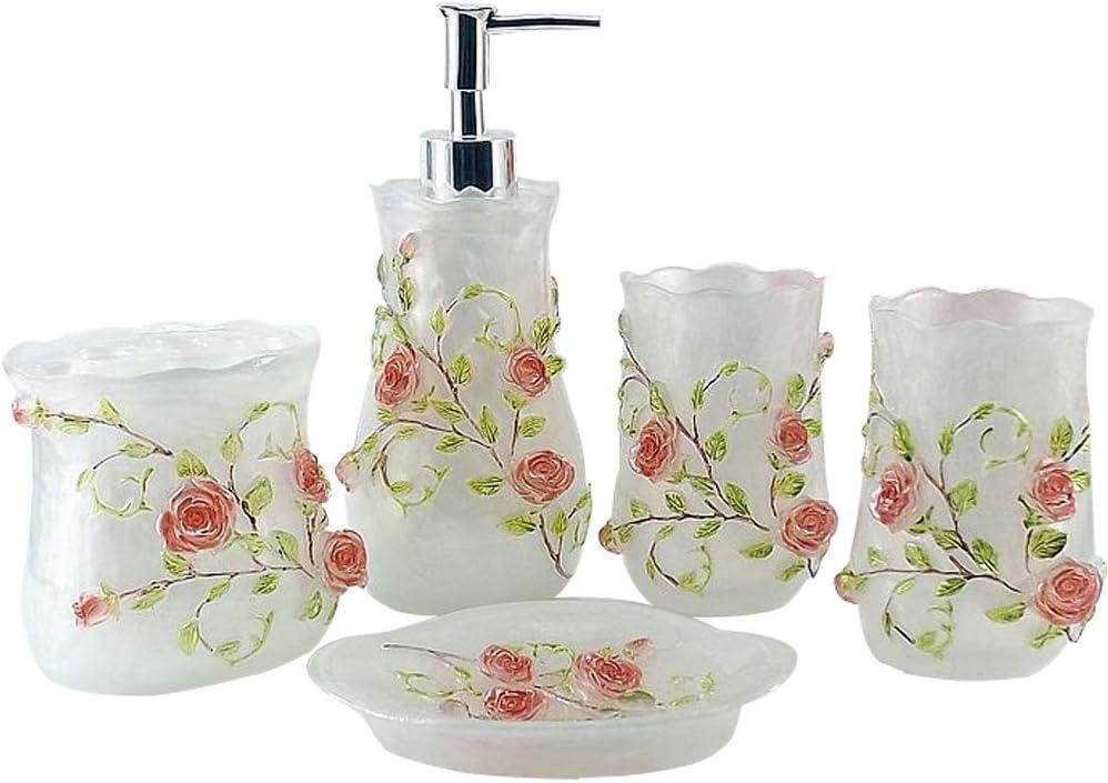 LUANT Resin 3D Max 88% OFF Roses 5PC Dispenser Daily bargain sale Set Accessories Soap Bathroom