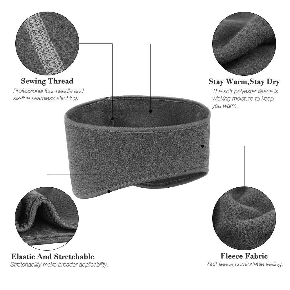 Ear Warmers Headband, KOMAKE 2 Pack Earmuff Headband Fleece Earmuffs Running Headband Winter Ear Covers Moisture Wicking Sweatband Ski Sport Headband For Men & Women (Black+Gray)