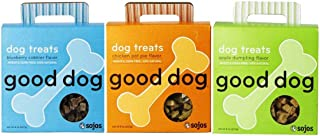 Good Dog 100% Natural Wheat & Corn Free Treats For Dogs 3 Flavor Variety Bundle: (1) Good Dog Chicken Pot Pie Flavor 100% Natural Dog Treats, (1) Good Dog Apple Dumpling Flavor 100% Natural Dog Treats, and (1) Good Dog Blueberry Cobbler Flavor 100% Natural Dog Treats, 8 Oz. Ea. (3 Boxes Total)