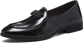 Mocasines de Hombre Calzado de Charol Zapatos de Vestir de Fiesta de Boda de Moda con Zapatos de conducción Masculinos Bow...
