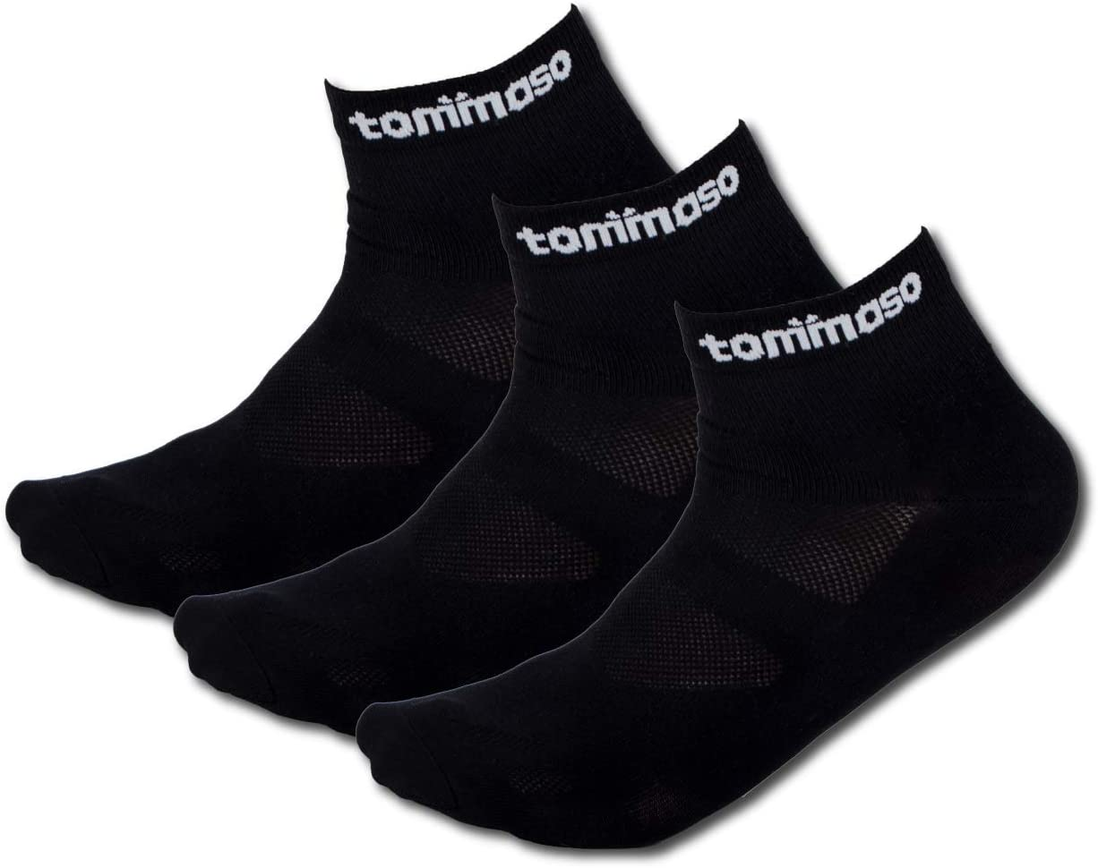 White Black High Low Cut Tommaso Cycling and Spinning Socks Moisture Wicking 3 Pack