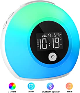 iYeHo Music Wake Up Light with Bluetooth Speakers, Alarm Clocks for Bedrooms,Dimmable Color Changing Night Light,Alarm Clock for Heavy Sleepers,Music Player for Kids,Party,Camping