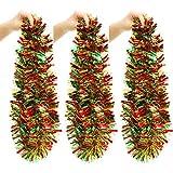 6 Rollos de Guirnalda de Oropel Navideña Adorno de Árbol de Navidad Guirnalda Colgante de Color Mixto Serpentina Metálica Brillante para Fiesta, 12 Metros en Total (Rojo Verde Oro)