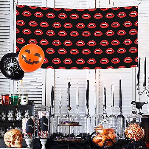 Vampiro labios dientes labios labios Halloween aterrador espeluznante negro feliz Halloween Banner para pared valla patio fondo decoración interior exterior fiesta