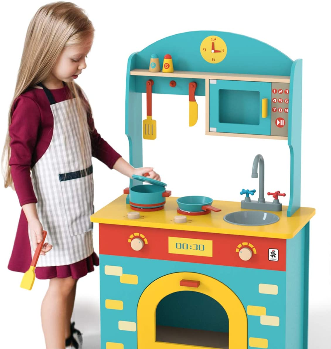 MyLohas San Antonio Mall Wooden Play Kitchen Special price Set for Toy fo Toddlers Kids Gift