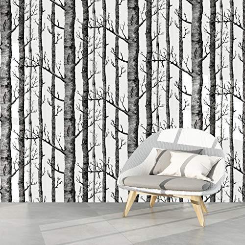 Birke Tapete Birch Forest Wallpaper Fototapete Birkenwald selbstklebend Tapeten Dekorfolie hell Möbelfolie Tapete Wohnzimmer Schlafzimmer Büro Flur Dekoration Wandbilder Moderne Wanddeko6m×45cm