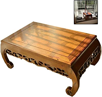 Old Elm Small Coffee Table Antique Carved Tea Table Tatami Small Coffee Table Solid Wood Bay Window Table Chinese Floor Table Japanese Style Balcony Table Kang Table