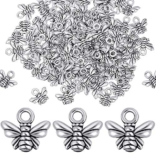 100 Pieces Jewelry Making Silver Charms Honeybee Earring Pendants Alloy Bee Insects Charms for Crafting Bracelet Necklace DIY Jewelry Making