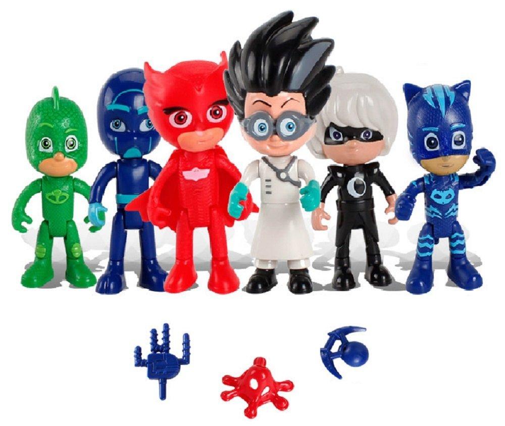 PJ Masks - Pack de 6 Figuras y 3 Armas: Gatuno, Buhíta, Gekko, Lunática, Romeo y Ninja Nocturno (con Caja Original) - envíos 2-3 días para españa! - Stock Nacional: Amazon.es: Juguetes y juegos