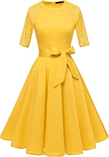 DRESSTELLS Women's Vintage 50's Retro Rockabilly Cocktail 3/4 Sleeves A-line Prom Party Dress