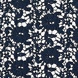 Pizzo grezzo Motivo floreale – blu marino — Vendita al metro da 0,5m — per cucire moda da sera e da party, Abiti e Magliette