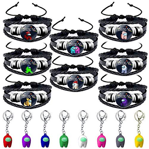 Daohexi 16 Pcs Among Us Leather Bracelets and Keychains, Imposter Among Us Game Key Pendant Decor Pack Cute Doll Toy Character Colourful Gift for Men Women Funny Crazy Birthday Gift