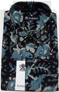 Blue Bagru dabu Print Cotton Shirt (44/XXL) Half Sleeve