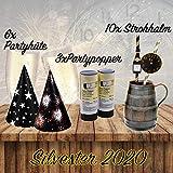 L+H Silvester Party Set 2021 | Party Deko Set mit über 15 Premium-Teilen | 10x hochwertige ökologische Trinkhalme, 3X Partypopper, 6X Partyhüte wiederverwendbar | Happy New Year Dekoration - 2