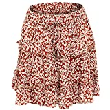 Summer Floral Print Boho Sexy Mini Skirt Women Bandage Fashion Vita Alta Frills Gonna Corta Gonne A Pieghe da Donna