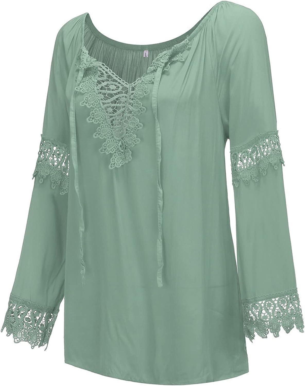 Fashion Womens Off Shoulder Deep V-Neck Cotton Linen Lace Frenulum Long Sleeve Shirt Tops Blouse