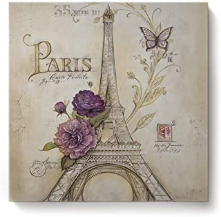 BABE MAPS 12x12 in Wall Art Vintage Butterfly Paris Tower Flowers Artwork Canvas Print Painting Stretched and Framed for Living Room Decor and Modern Home Decorations Photo Prints
