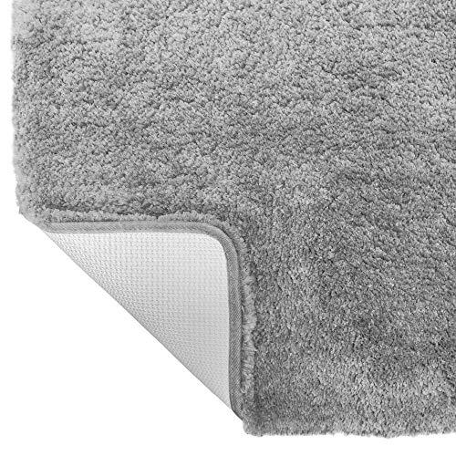 Gorilla Grip Original Premium Luxury Bath Rug, 24x17 Inch, Incredibly Soft, Thick, Absorbent Bathroom Mat Rugs, Machine Wash and Dry, Plush Carpet Mats for Bath Room, Shower, Hot Tub, Light Gray