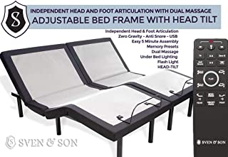 Split King Adjustable Bed Base Frame (Head Tilt) 5 Minute Assembly, Head & Foot Articulation, USB Ports, Zero Gravity, Interactive Dual Massage, Wireless, Classic by Sven & Son (Split King)