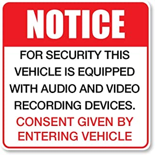 IT'S A SKIN for Security This Vehicle is Video Audio Equipped Recording Notice Disclaimer | Vinyl Sticker Decal for Laptop...